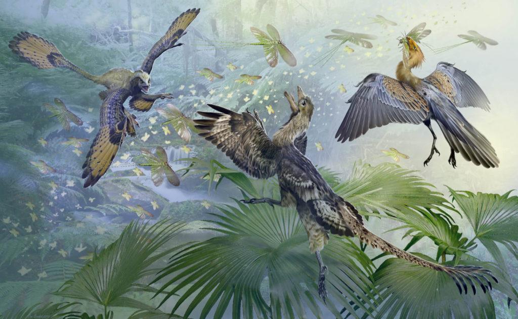 пернатые динозавры ловят насекомых
