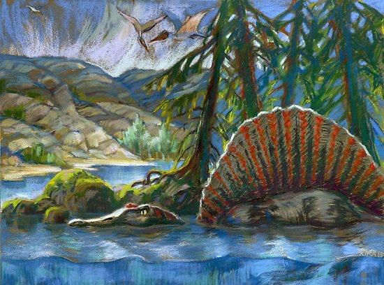 спинозавр в реке