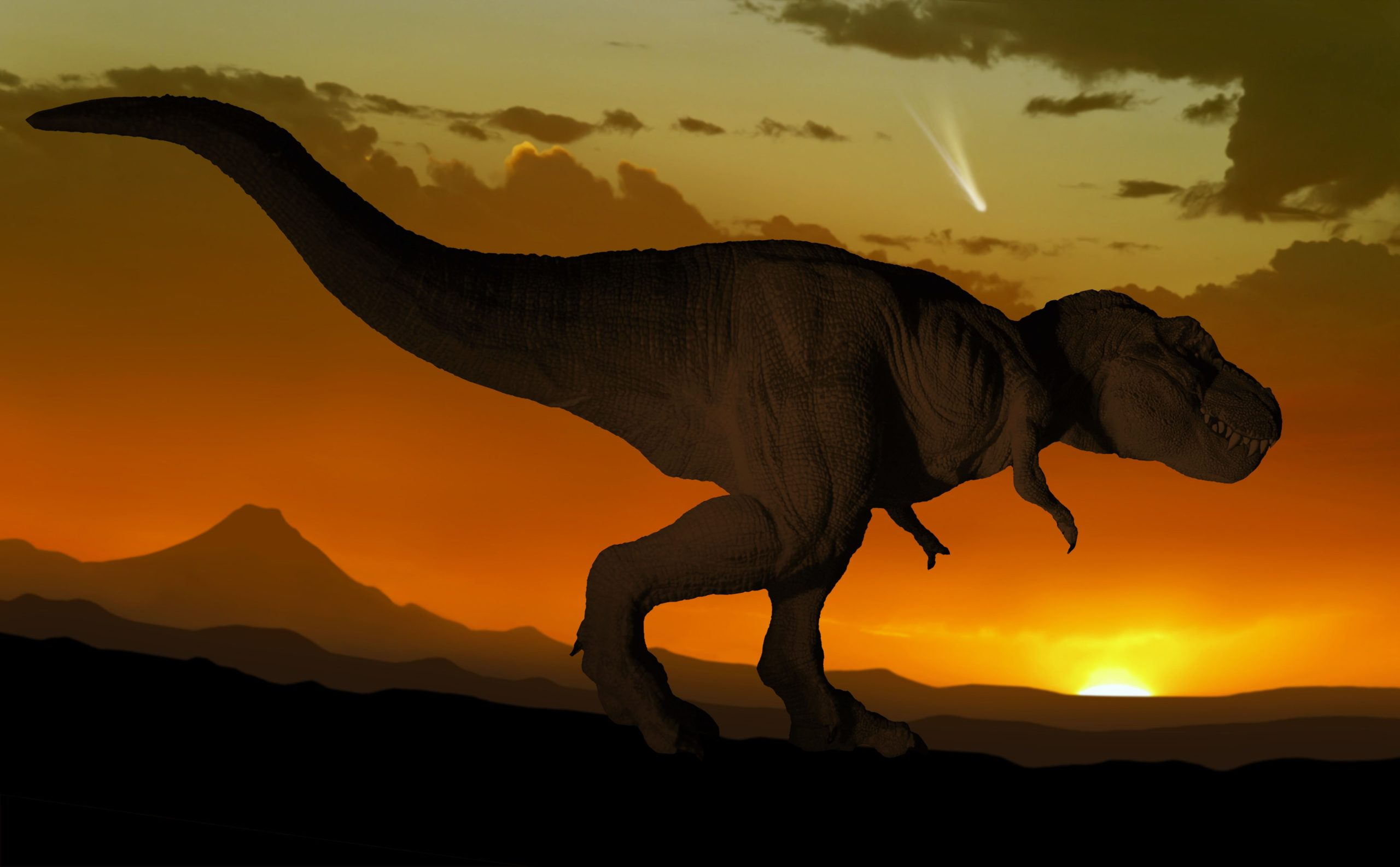 тираннозавр уходит в закат