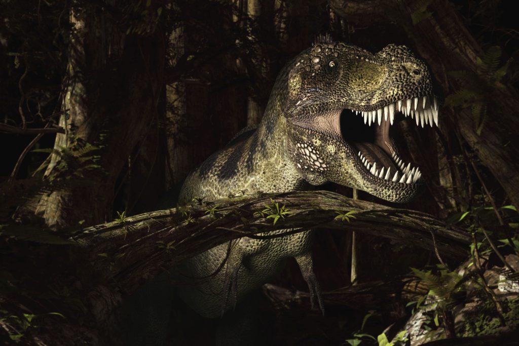 тираннозавр в лесу
