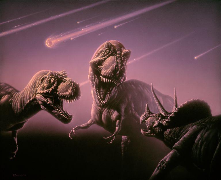 трицератопс против двух тираннозавров